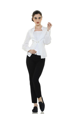 Double Fabric Pleated Blouse with Pin Buckle and Wide Collar