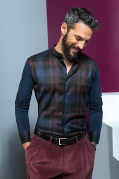 Cotton Jersey Shirt with Plaid Plastron and Narrow Band Collar
