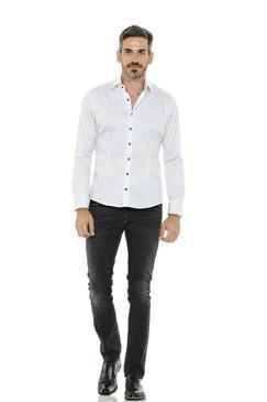 Polished Cotton Shirt with Swarovski Buttons