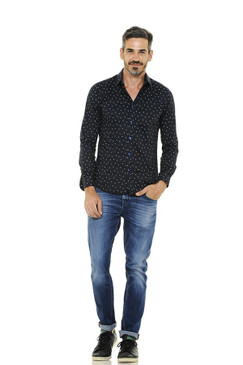 Traditional Fit Cotton Shirt with Small Graphic Print