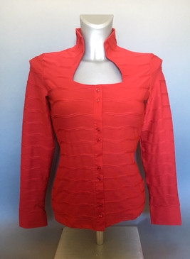 Stretchy Knit Holiday Blouse with Horizontal Pleats (Available in 2 Colors)