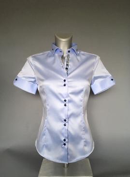 Classic Style Polished Cotton Short Sleeve Blouse