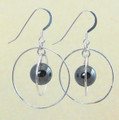 Sterling Silver Orbit Earrings wtih Hematite