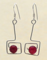 Sterling Silver Square Earrings with Carnelian