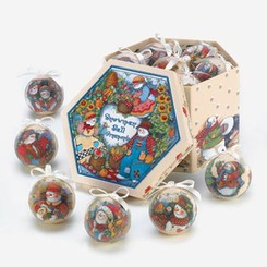 COUNTRY SNOWMAN ORNAMENT BOX SET