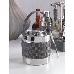 WOVEN CANE ICE BUCKET WITH LID