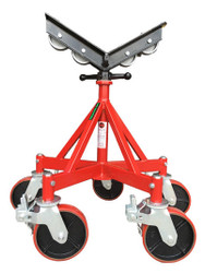 "Giant Jack Stand with Roller ""V"" Head Allows Pipe Rotation  5 Large Casters - Easy to Move Around the Work Area"