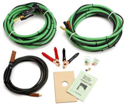 """Includes the Following: Prime Cut Torch and Striker Plate, 30' Hose & Cable Extensions, Collets: 3/16"""", 1/4"""", 3/8"""", 1/2"""",  Leather Shield, Battery Clamps"""