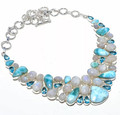 Larimar, Moonstone, & Topaz Necklace 001