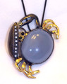 Chalcedony Crab Sculptural Pendant/ Broach