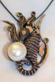 Sculptural Seahorse Pearl Pendant/Broach