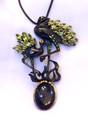 Sculptural Peridot & Cat's Eye Crane Broach/Pendant