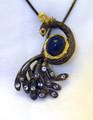 Sculptural Peacock Sapphire & Topaz  Broach/Pendant