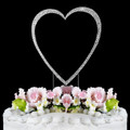 Completely Covered ~ Swarovski Crystal Wedding Cake Topper ~ Single Large Silver Heart