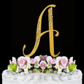 Sparkle ~ Swarovski Crystal Wedding Cake Topper ~ Gold Letter