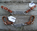 Curb - Double Chain Nickle Plated Harness Leather