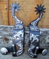 Spurs - Black Satin Floral Reining (Mens)