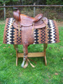 Hard Seat Trail Riding Saddle - Semi-Quarter Horse Bars - 14""