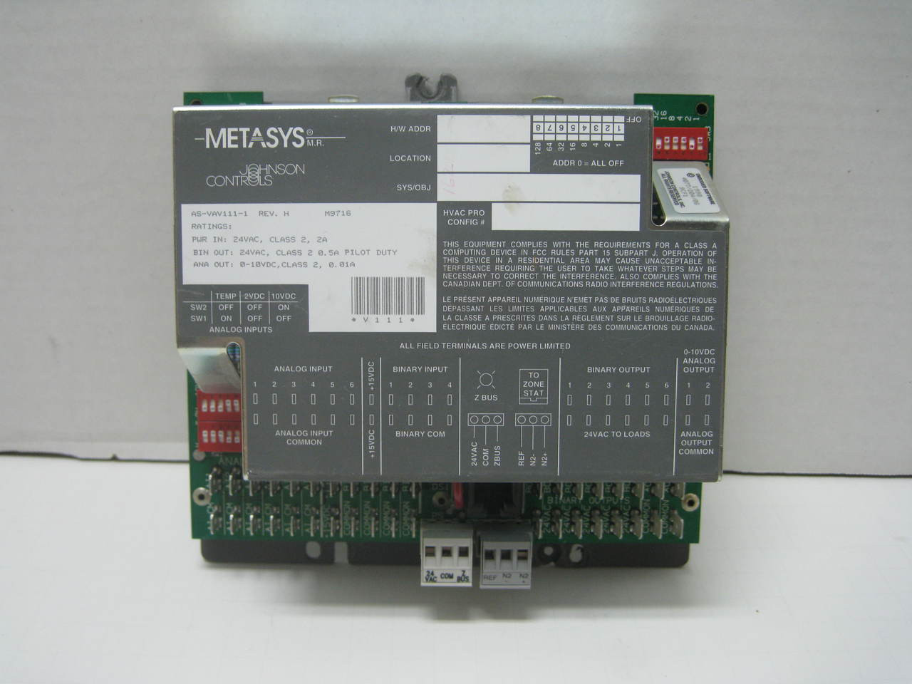 Johnson Controls AS VAV111 1 - Automation Parts Warehouse