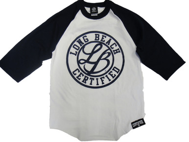 "LB CERTIFIED CURSIVE BASE BALL 3/4 SLEEVE 6 oz. 100% cotton tubular jersey.* Double-needle sleeve opening and curved bottom. Preshrunk to minimize shrinkage. Body Width: S=18"", M=20"", L=22"", XL=24"", 2XL=26"