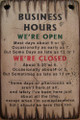 Business Hours Wooden Sign