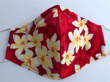 Face Mask(Red w/ Wht&Yellow Plumeria)