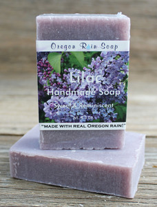 Mild cleansing bar soap Scent is true to a lilac flower Made in Oregon, USA