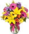 Purple, Pink, Yellow Floral Arrangement