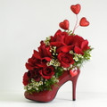 Sexy Deccorated Red Shoe Floral Arrangement