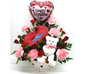 Gift Basket with Candies, Balloon and Flowers