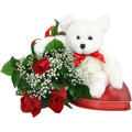 Three Roses with Bear and Candy