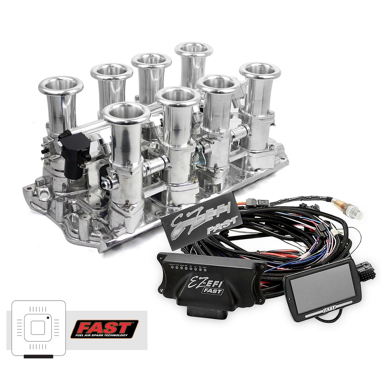 Small Block Ford 351W Polished Downdraft FAST EZ-EFI 2 0 Fuel Injection  System