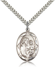 """St Joseph Sterling Silver medal on a 24"""" stainless heavy curb chain"""