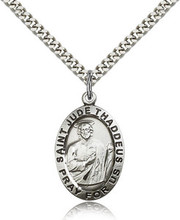 St Jude Thaddeus Sterling Silver Medal on a Stainless Chain
