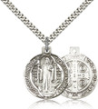 St Benedict Round Sterling Medal 24-inch heavy curb chain