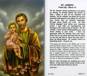 St Joseph Novena Prayer Laminated Holy Card