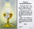 Prayer of Eucharistic Ministers Laminated Holy Card showing front and back of card