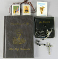 Marian Children's Mass Book with Black Plastic Bead Rosary, Rosary Case, Brown Scapular and Lapel Pin