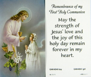 Remembrance Of First Holy Communion Girl Paper Holy Card