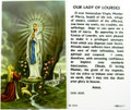 Our Lady of Lourdes Laminated Holy Card
