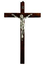 "Burl wood wall crucifix 12"" high"