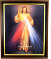 Divine Mercy 8 x 10 Fruit Wood/Gold Lip Frame