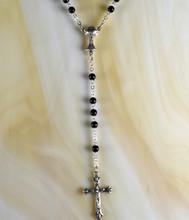 Black 5mm glass bead rosary