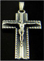 "Flat Straight 1 1/2"" Silver Rosary Crucifix"