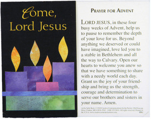come lord jesus advent prayer card our daily bread. Black Bedroom Furniture Sets. Home Design Ideas
