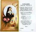 St Bernadette Laminated Holy Card