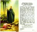 St Francis Xavier Laminated Holy Card