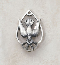 Holy Spirit sterling teardrop shape medal on a 18-inch stainless chain.