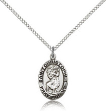 St Christopher sterling silver oval medal on chain