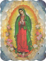 Our Lady of Guadalupe With Flowers Wood Plaque